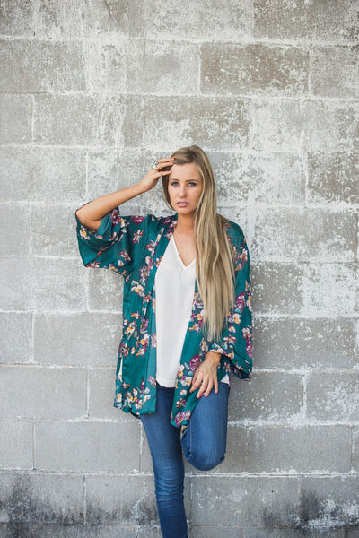 Falling for Florals Kimono - Teal