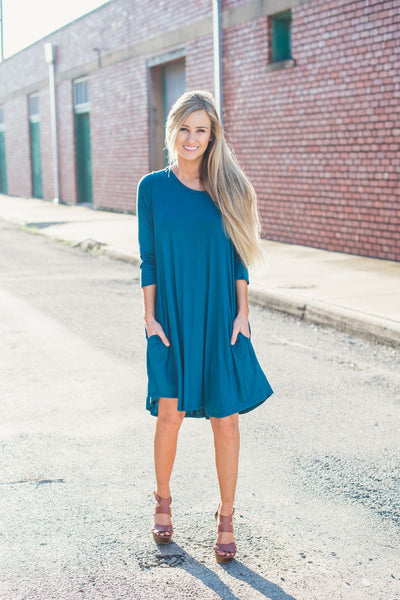 Ready for Anything T-Shirt Dress - Teal