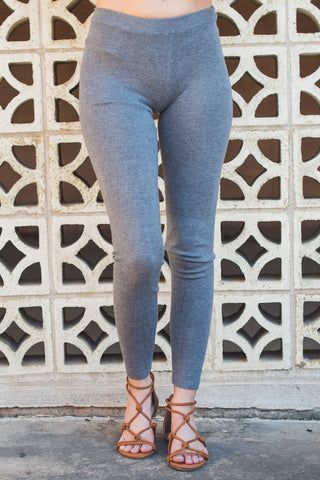 Keep Me Cozy Leggings - Heather Charcoal Gray