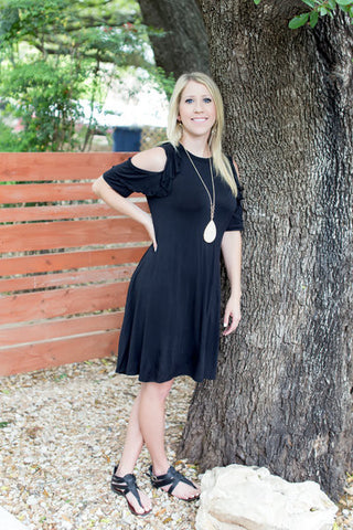 Fly Away with Me Cold Shoulder Dress - Black