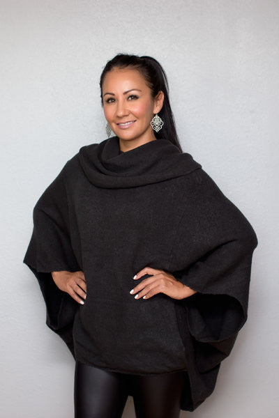 Poncho Style Cowl Neck Sweater