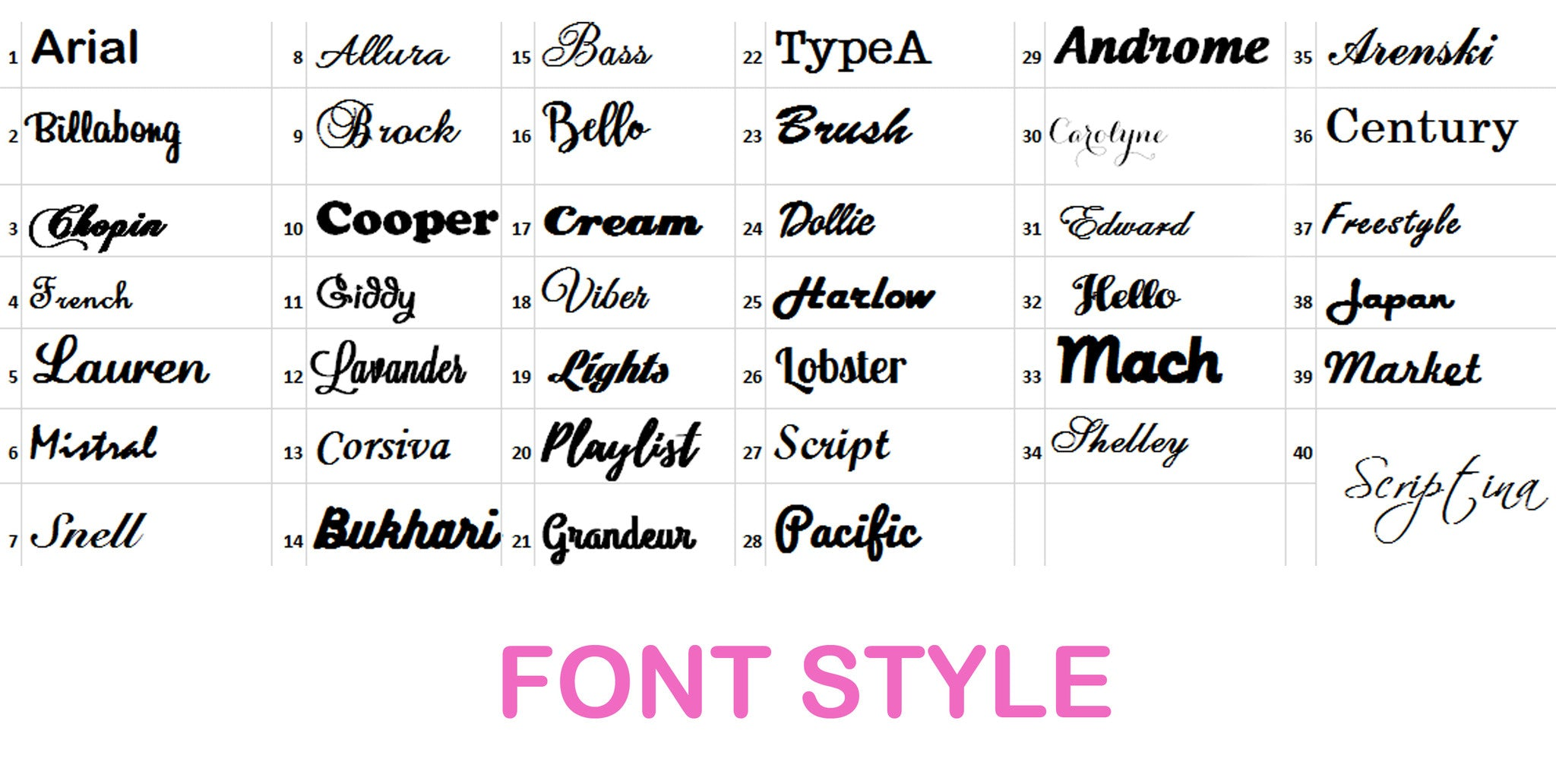 Want to see how your name looks with our available fonts? Feel free to  contact us so we can email your draft.