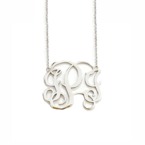 Classic Monogram Necklace in Sterling Silver