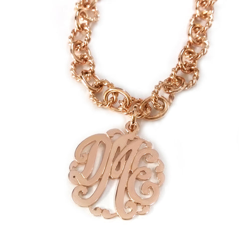 Circle Rope Monogram Bracelet in Rose Gold Tone