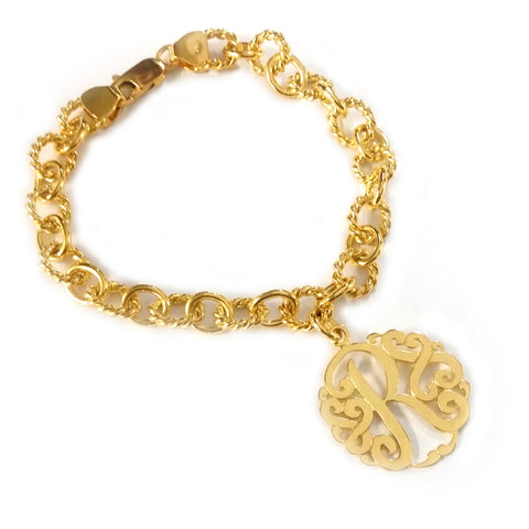 Circle Rope Monogram Bracelet in Yellow Gold Tone