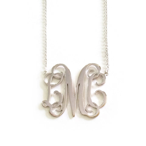 Classic Monogram Necklace in White Gold Tone