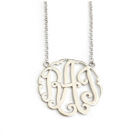 Swirly Monogram Necklace in Sterling Silver