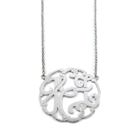 Swirly Monogram Necklace in White Gold Tone