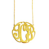 Swirly Monogram Necklace in Yellow Gold Tone