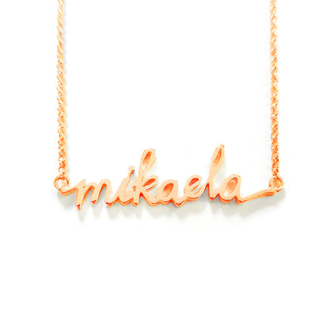 Handwriting Name Necklace in Rose Gold Tone