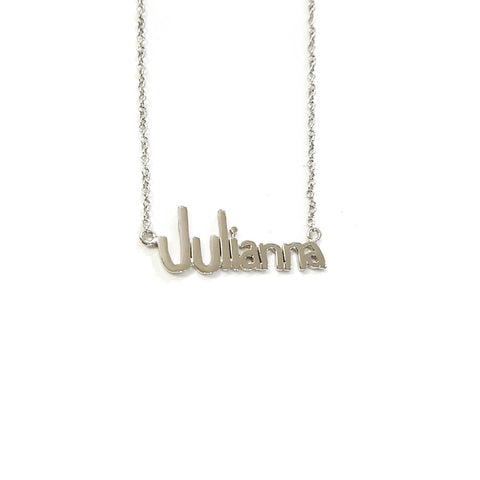 Handwriting Name Necklace in White Gold Tone