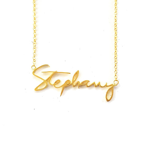 Handwriting Name Necklace in Yellow Gold Tone