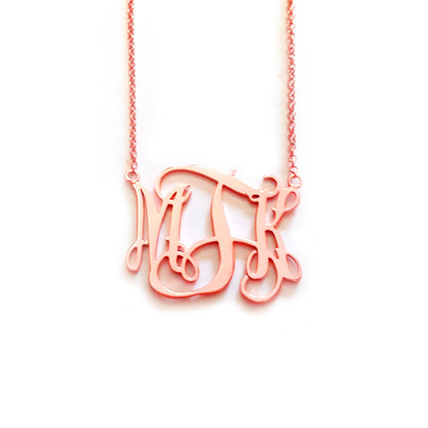 Classic Monogram Necklace in Rose Gold Tone
