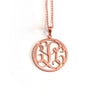 Circle Monogram Necklace in Rose Gold Tone