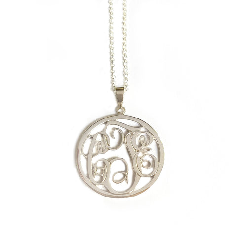Circle Monogram Necklace in White Gold Tone