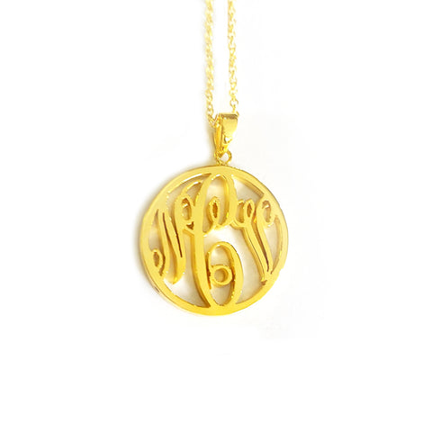 Circle Monogram Necklace in Yellow Gold Tone
