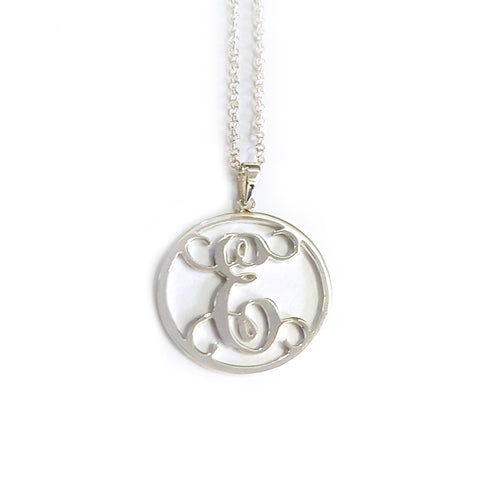 Circle Monogram Necklace in Sterling Silver