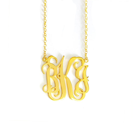 Classic Monogram Necklace in Yellow Gold Tone