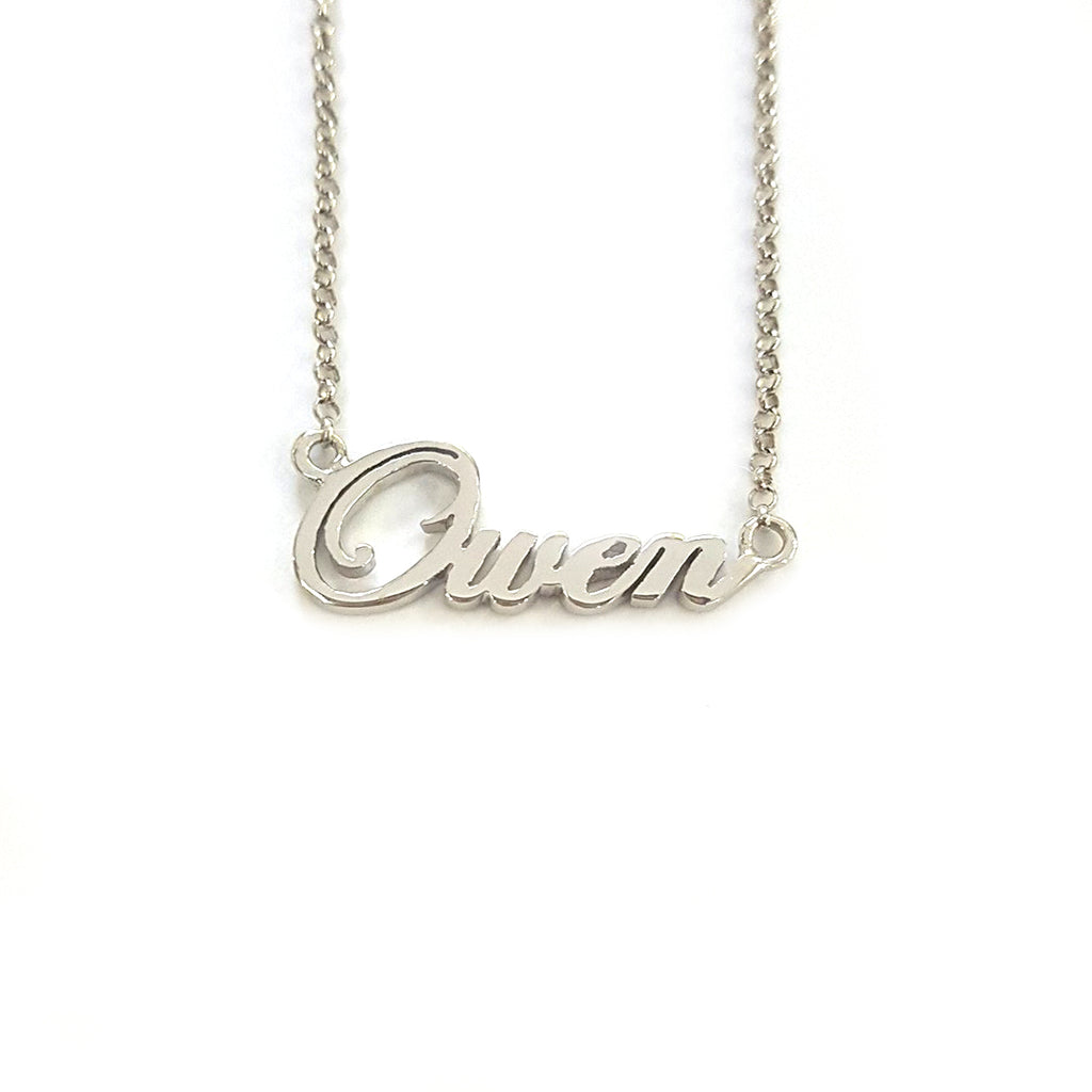 Personalized Name Necklace In White Gold Tone