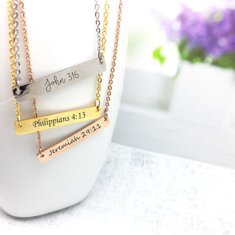 Custom Engraved Bar Necklace