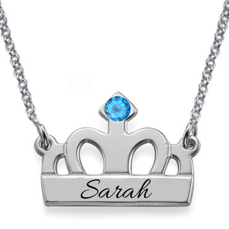 Personalized Crown Necklace with Birthstone