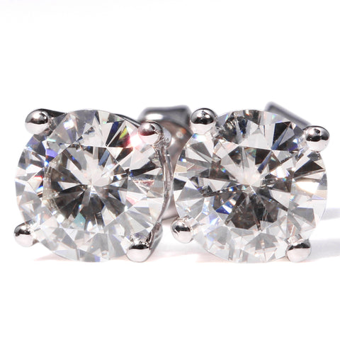 Forever Brilliant 2.00CTW Round Colorless Moissanite Four Prong Solitaire Stud Earrings in 14K White Gold