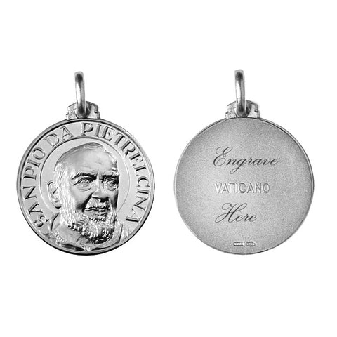 Blessed By The Pope Engravable Saint Padre Pio Necklace