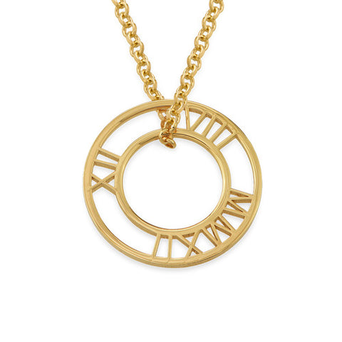 Personalized Roman Numeral Circle Necklace