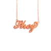 Carrie Style Name Necklace in Rose Gold Tone