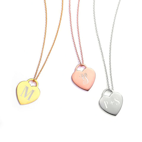 Custom Engraved Heart Tag Necklace