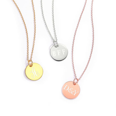 Custom Engraved Round Tag Necklace