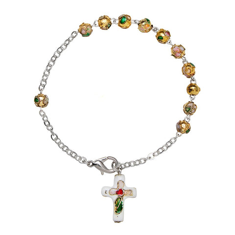 Made In Vatican Cloisonne Filigree Rosary Bracelet
