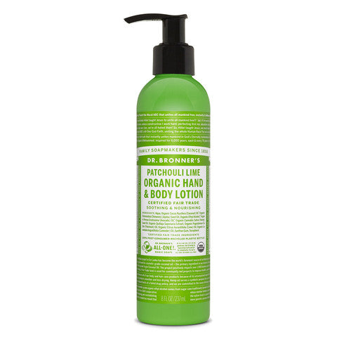 Dr Bronners Hand & Body Lotion Patchouli Lime Pump 237ml