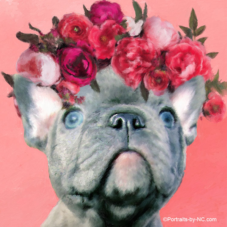 Blue English Bulldog Puppy - Flower Babies Painting