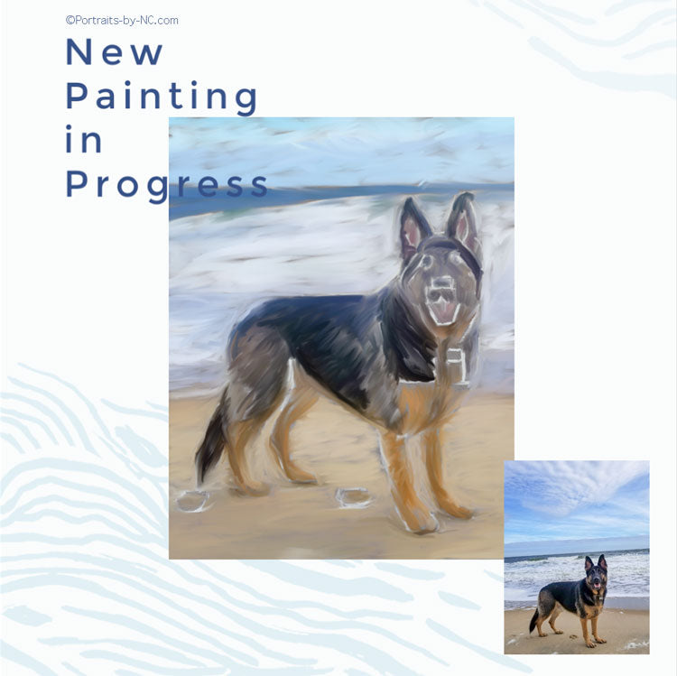 Dog on Beach Portrait Painting