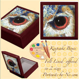 Owl Gaze Lacquer Lined Keepsake - Jewelry Box
