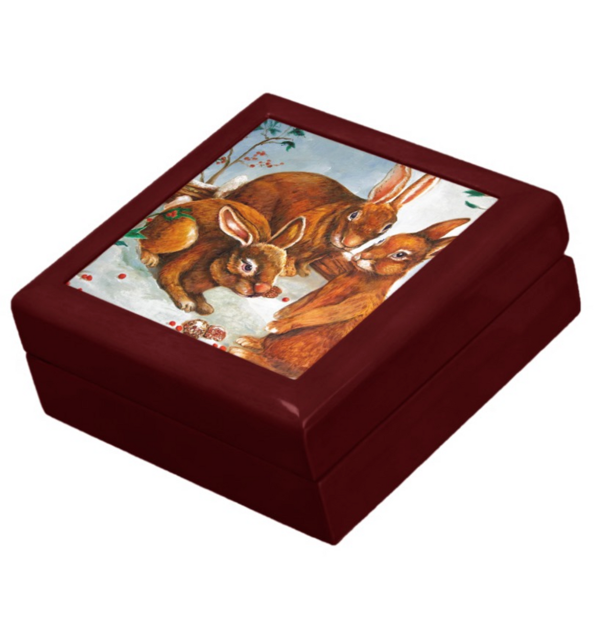 Lacquered Keepsake Box with Rabbit Design