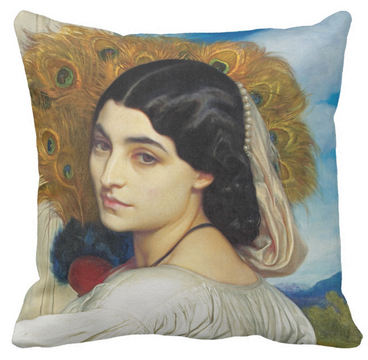 New Art Pillow - Pavonia by Lord Frederic Leighton