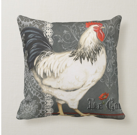 Elegant Rooster Pillow in Grey and Off White