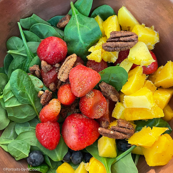 Spinach Salad with Fruit and Orange Muscat Champagne Vinegar Dressing