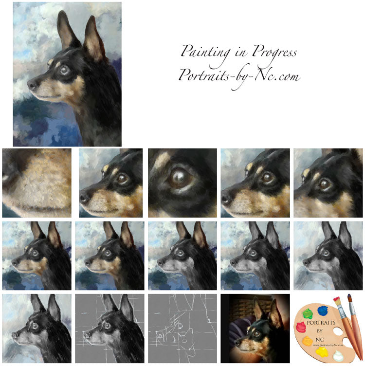 Pinscher Portraits Painting Progression