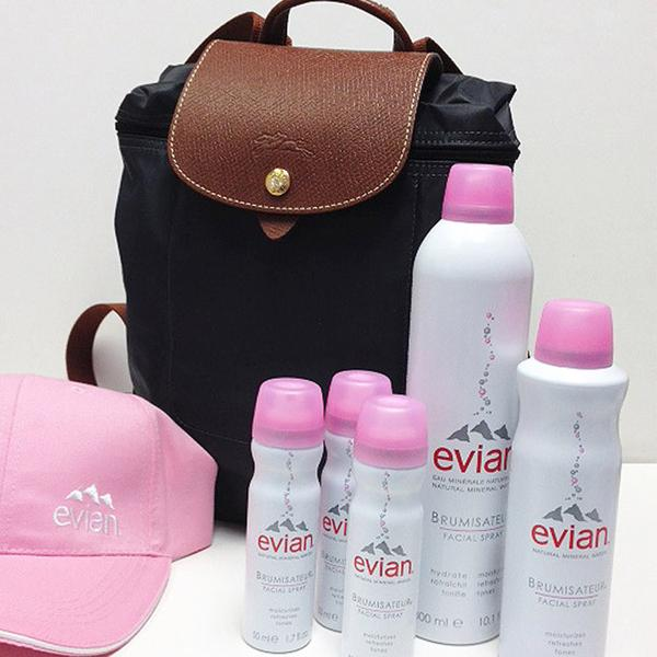 Travel Necessities - Evian Facial Spray and Longchamp Bag