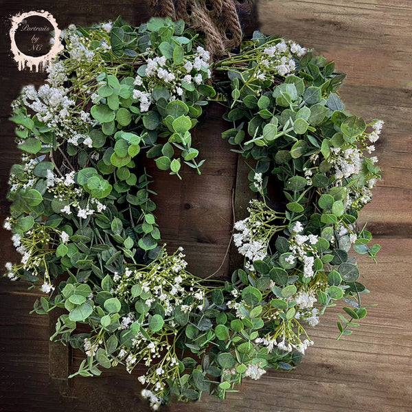 DIY Easy Spring Baby Breath Wreath 🌸 Easy, Cute and Affordable Country Style Wreath