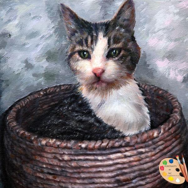 Cat in Basket Custom Portrait