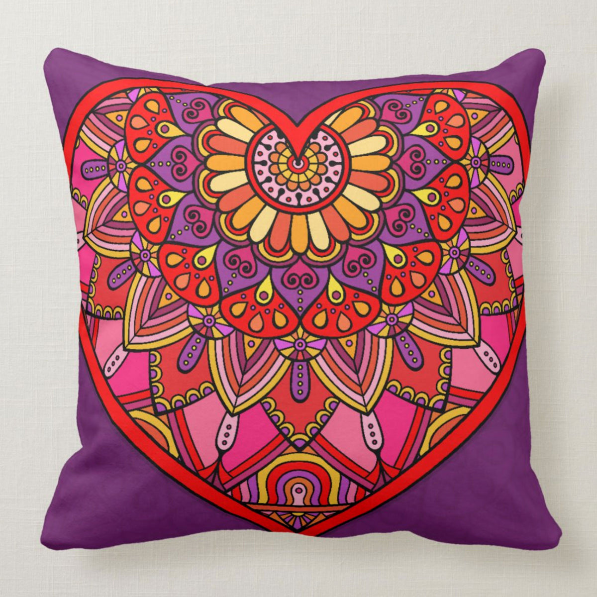 Bring some color to your room with this new Colorful Heart Throw Pillow