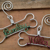 Personalized Wire Dog Bone Ornaments