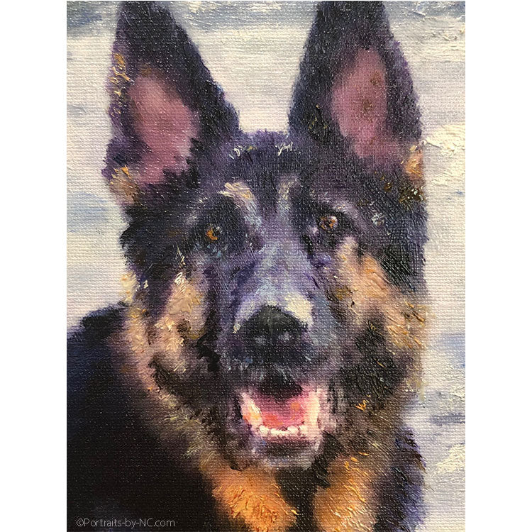 Painting of German Shepherd by the  Beach
