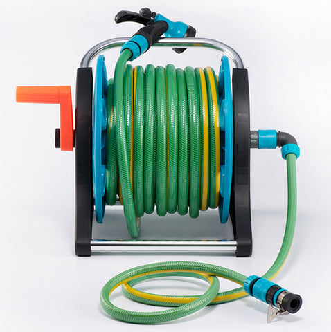 50 Feet Green and Blue Garden Hose Reel
