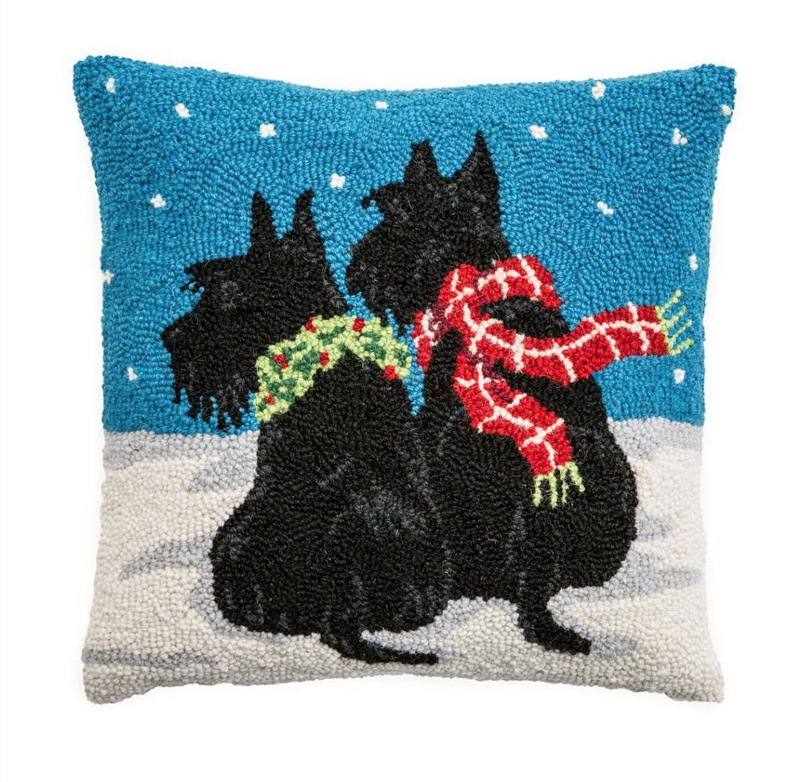 New Hooked Wool Holiday Pillows