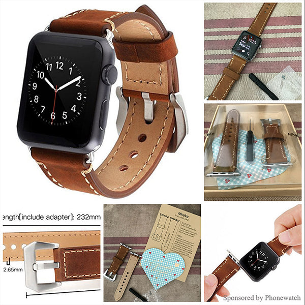 Cowhide Genuine Leather iwatch Replacement Strap for Apple Watch